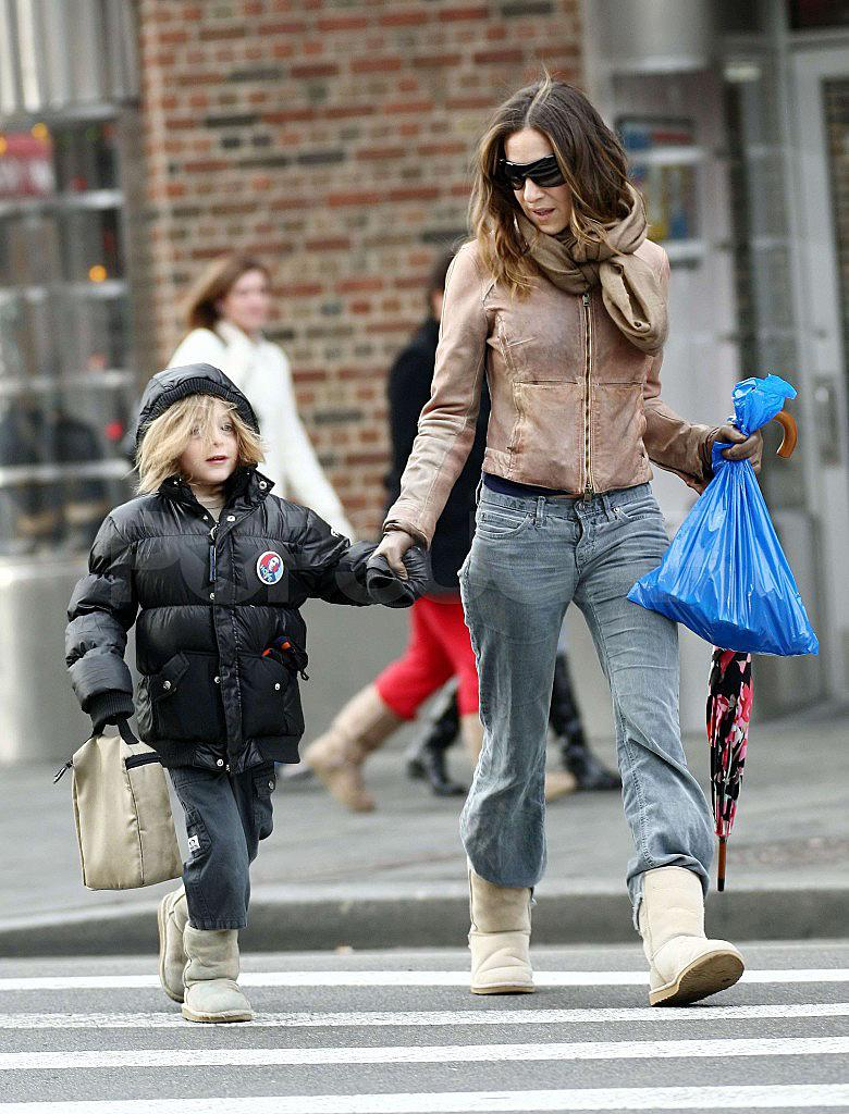 Sarah Jessica Parker and James Wilkie Broderick out and about in NYC. James is wearing a Obama button Ref: SPL83605 270209 Picture by: Jackson Lee/Tom Meinelt Pictured: Sarah Jessica Parker,James Wilkie Broderick Splash News and Pictures Los Angeles: 310-821-2666 New York: 212-619-2666 London: 870-934-2666 photodesk@splashnews.com