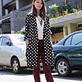 [穿搭]穿搭]復古圓點x長版西裝外套 & 經典不敗x黑色金扣短靴