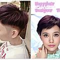 """[染髮]台中happy hair""""郭采潔髮色""""質感紫色配上個性短髮層次髮型"""