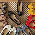 真皮芭蕾名伶車線大蝴蝶扭結淺口平底鞋