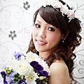 台北新娘秘書雅芳-白紗花圈 自然捲髮