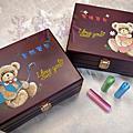 【來勢熊熊】熊寶寶-天然貓眼石臍帶章/胎毛筆禮盒