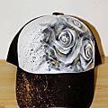 20090818-手繪網帽-潑墨黑玫瑰