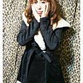 2010 ♥ 溫暖冬季單品。連帽絨毛綁帶外套 黑