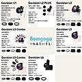 Bomgogo 專業級手機鏡頭組規格比較圖