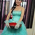 日系花瓣髮 浪漫花環 Tiffany藍禮服