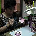 VIP劉碧蓮紙黏土作品-花團錦簇橢圓高腳花盆