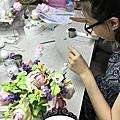 學員林惠惠急起直追deco花漾系列10-3高腳英倫玫瑰(含花器製作