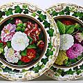 2 KPM Porcelain 茶花(camellia) & 大理花(Dahlia) Plates