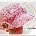 手鉤可愛粉紅報童帽
