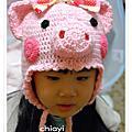 編織:手鉤可愛粉紅小豬帽