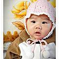 編織~手鉤粉色嬰兒帽