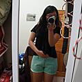 糖果色刷破短褲(售-淺綠)