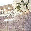 *~花居樂花坊~*1061224平鎮 晶麒莊園 Shiang&Yu 工業風主題背板設計婚禮佈置