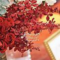 *~花居樂花坊~*1070113林口 金湯匙花漾時尚會館 俊昇&以容 紅金色背板設計 婚禮佈置