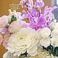 *~花居樂花坊~*1070204 中壢 古華花園飯店 Dino&Shannon 白金色典雅主題背板設計 婚禮佈置