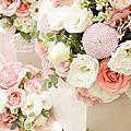 *~花居樂花坊~*1071014 中壢古華花園飯店 Simon&Mandy 粉色背板設計 婚禮佈置