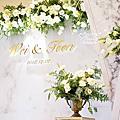 *~花居樂花坊~*1071202 大溪 鴻禧山莊 明園餐廳 Wei&Teen 大理石主題背板設計 婚禮佈置