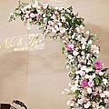 *~花居樂花坊~*1080323 桃園 諾富特華航桃園機場飯店 Wu&Tsao 舞台花拱門婚禮佈置