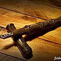 一號竹筆 負壓上墨 德國黑黃木紋 長刀研 手作鋼筆