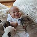 三個月的小BABY和小鬥牛犬的親密