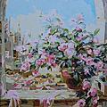 20150614油畫:沐光之花