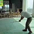 319-Hotel - buffet area - mosaic tile floor - walkway -  skid construction  - Photo