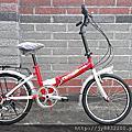 20吋 6速 SHIMANO 摺疊 淑女車 (紅/白)