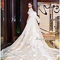類白紗造型 .蕾絲披肩長紗
