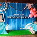 高雄婚禮佈置-婚禮背板-海洋風+球柱+空飄氣球