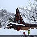 雪地。白川郷合掌村