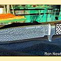 Ron Newton羽毛紋大馬士革鋼金屬握柄小直刀