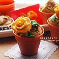 【甜點】新年快樂,中西合併杯子發糕。(杏仁糕玫瑰花裝飾)