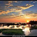 夏季漁港夕陽和大自然晨景