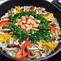義式香料菠菜奶油鮭魚菇菇燉飯
