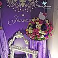 Tina flower婚禮佈置~桃園福利川菜婚禮佈置-紫白色KT迎賓背板佈置