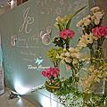 Tina flower婚禮佈置~桃園晶宴會館婚禮佈置-Tiffany logo背板設計佈置