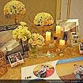 Tina flower婚禮佈置~平鎮茂園和漢美食館婚禮佈置-金白色迎賓背板(大亨小傳)