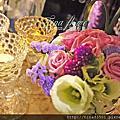 Tina flower婚禮佈置~平鎮茂園和漢美食館婚禮佈置-紫金色系布幔布置