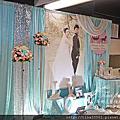 Tina flower蒂娜花藝場地佈置~大園老船長海鮮餐廳婚禮佈置-Tiffany色系布幔佈置