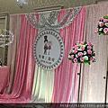 Tina flower蒂娜花藝場地佈置~平鎮茂園和漢美食館婚禮佈置-粉紅色系布幔佈置