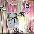 Tina flower蒂娜花藝場地佈置~中壢大閘蟹海鮮餐廳婚禮佈置-粉紅色系布幔佈置