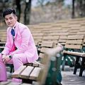 【婚紗照推薦】粉紅色西裝v