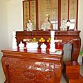 N281.一貫道佛桌中堂木雕聯製作 明明上帝無極老母雕刻設計