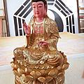 L59.極緻神桌佛像雕刻~觀世音菩薩木雕佛像 極彩描金製做