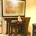 N306.發字型神桌設計 5尺1佛桌樣示 雷射雕刻心經木雕聯 神桌神龕後貼設計