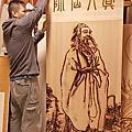 A127.真人先師木雕 神桌後貼製作 實木雕刻真人先師像