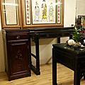 N316.佛桌與祖先桌分開樣式 4尺2黑檀桌搭1尺58公媽桌 西方三聖佛畫
