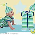 Piccalilly_迷你彩虹象+彩虹帽帽(藍綠)