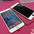非滿版玻璃貼摔機iphone 6S玫瑰金螢幕破裂維修
